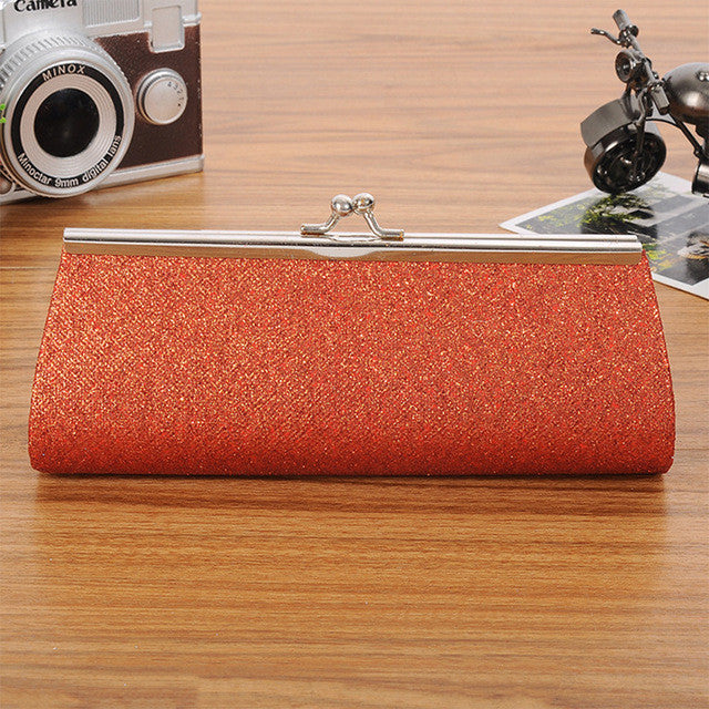 Chain Evening Glitter Bag Red