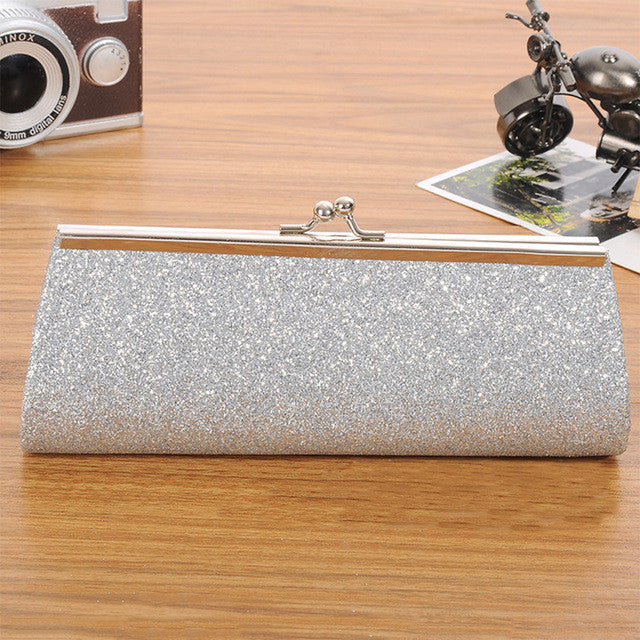 Chain Evening Glitter Bag Silver
