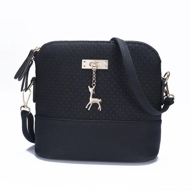 Shoulder or Cross-Body Mini Deer Bag Handbag Black / (20cm<Max Length<30cm)