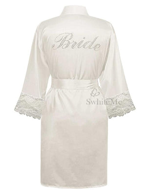 Wedding Bride Robe Satin Nightgown sleepwear Foxy Beauty
