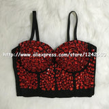 Rhinestone Bustier Pearls Push Up Cropped Top