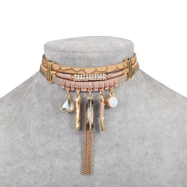 Bohemian Tassel Leather Choker Necklace A0775