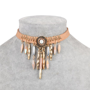Bohemian Tassel Leather Choker Necklace A0777