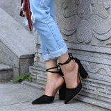 Pointed Strappy Pumps Sexy Retro High Thick Heels Shoes Black