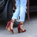 Pointed Strappy Pumps Sexy Retro High Thick Heels Shoes red / 5