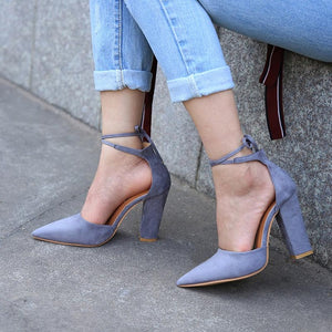 Pointed Strappy Pumps Sexy Retro High Thick Heels Shoes Gray