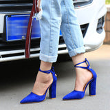 Pointed Strappy Pumps Sexy Retro High Thick Heels Shoes deep blue / 5