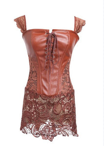 Faux Leather & Lace Corset. Gothic Brown / S