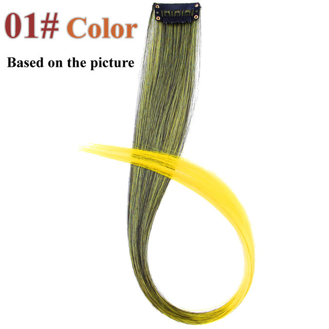 20 Colors 50CM Single Clip In One Piece Hair Extensions #1 / 20inches