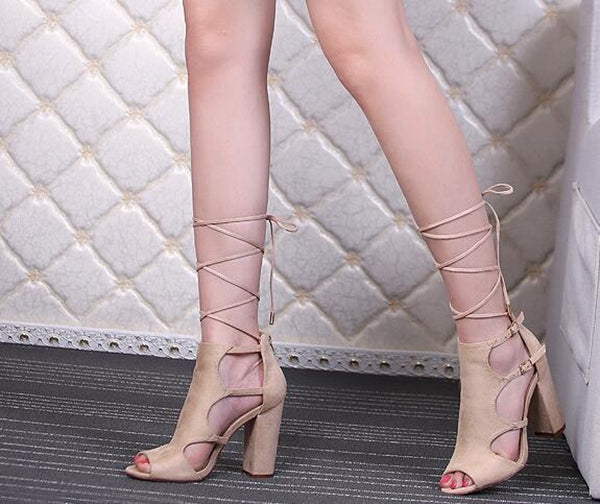 Gladiator Peep Toe High Heels Shoes