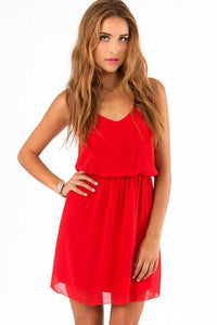 Summer Chiffon Party Casual Dress red / XS