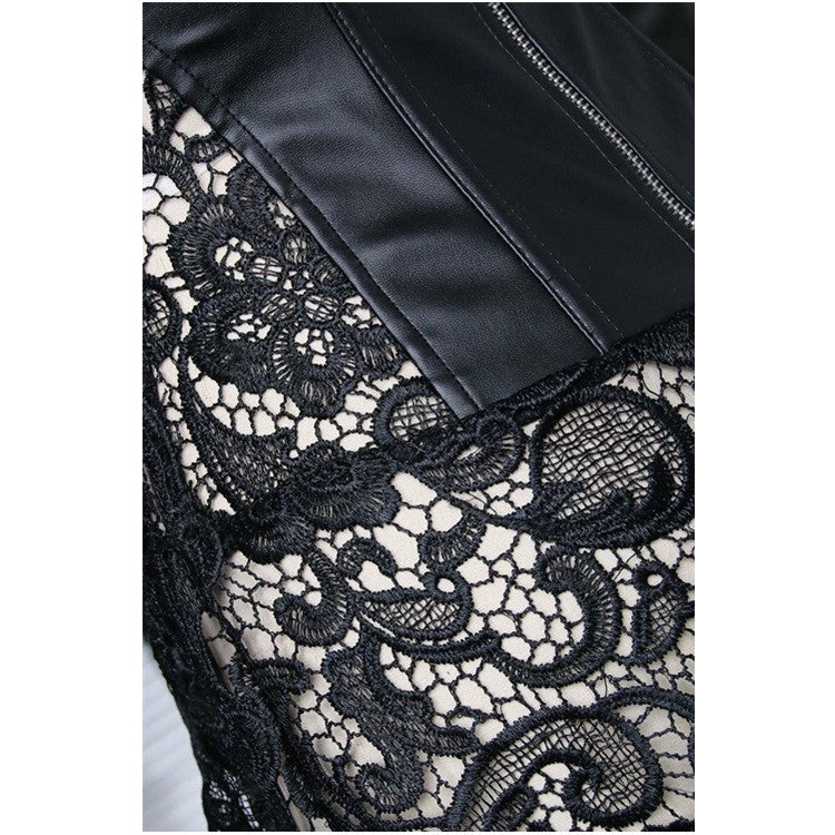 Faux Leather & Lace Corset. Gothic
