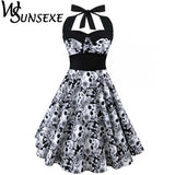 Vintage Style Sleeveless 3D Skull Dress