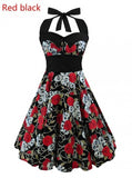 Vintage Style Sleeveless 3D Skull Dress Red Black / S