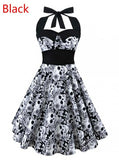 Vintage Style Sleeveless 3D Skull Dress Black / S