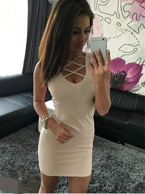 Summer Sexy Slim Women Cross-Belt Mini Dress Beige / XS