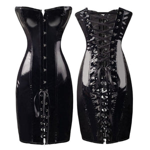Sexy PVC Faux Leather Corset Dress Black / L