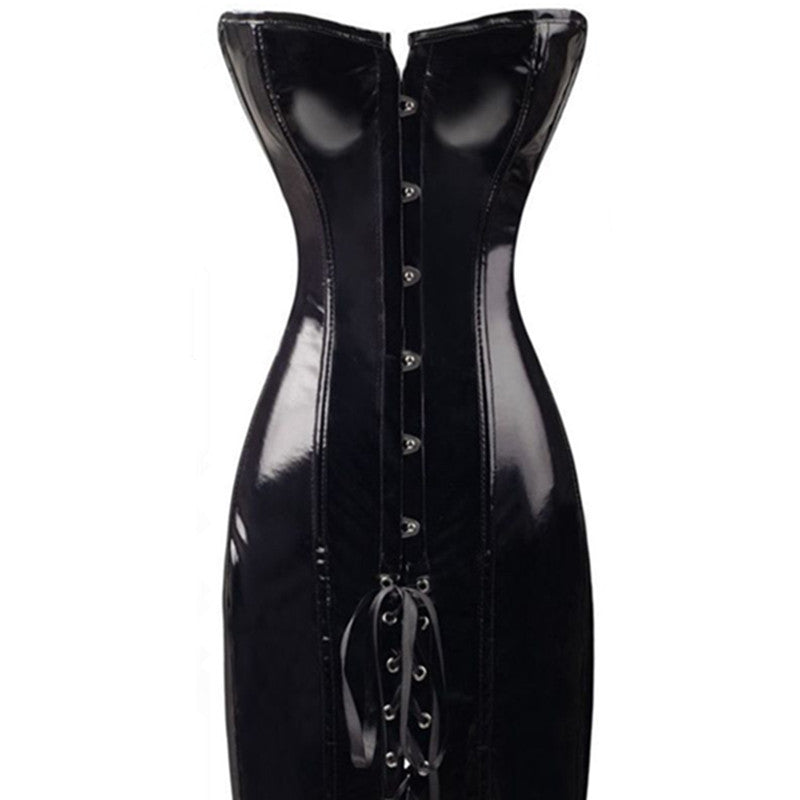 Sexy PVC Faux Leather Corset Dress