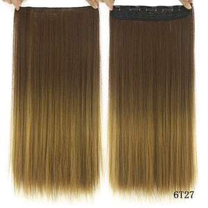 16 cm Long straight hair extensions Black / 24inches