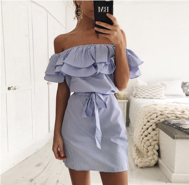 Striped Ruffle Casual Dress BLUE / S