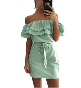 Striped Ruffle Casual Dress GREEN / S