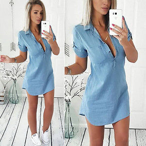 Fashion Women Summer Loose Casual Denim Short Sleeve Shirt Dress