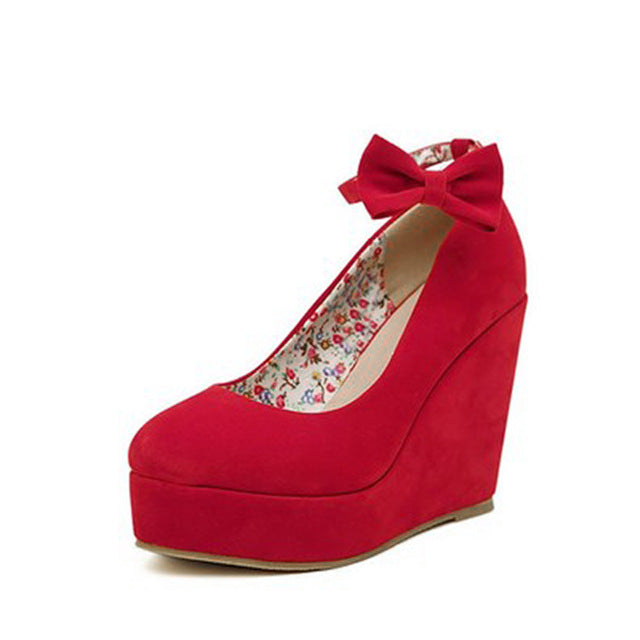 Buckle Wedge High Heel Shoes RED / 5