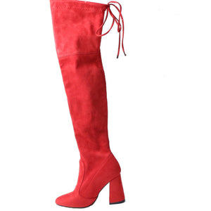 Women Over The Knee Boots Lace Up Red / 11