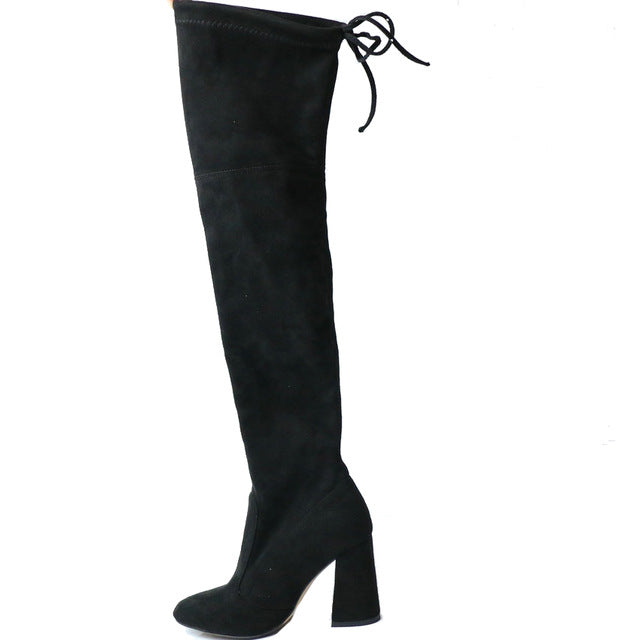 Women Over The Knee Boots Lace Up over the knee boots Foxy Beauty Black / 11