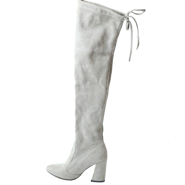 Women Over The Knee Boots Lace Up Light grey / 11