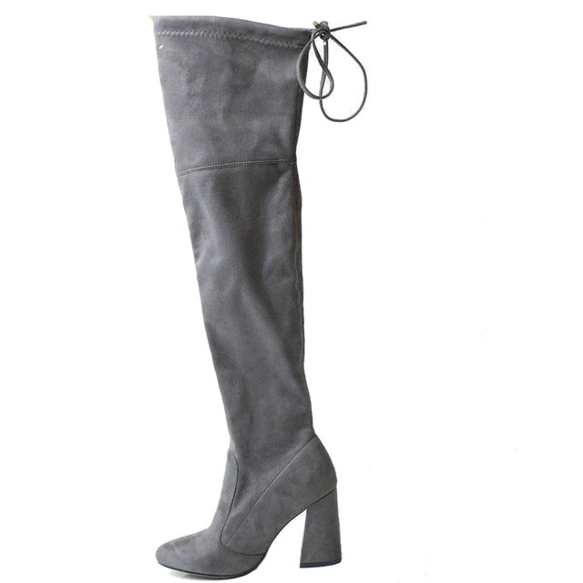 Women Over The Knee Boots Lace Up over the knee boots Foxy Beauty Drak grey / 11