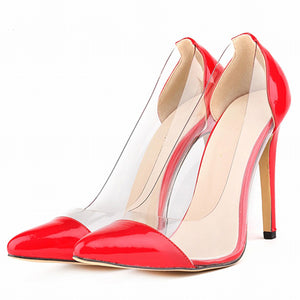Part Transparent High Heel Shoes Red / 5
