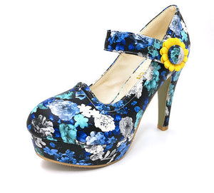 Flowers High Heel Shoes blue / 3