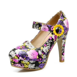 Flowers High Heel Shoes Purple / 3