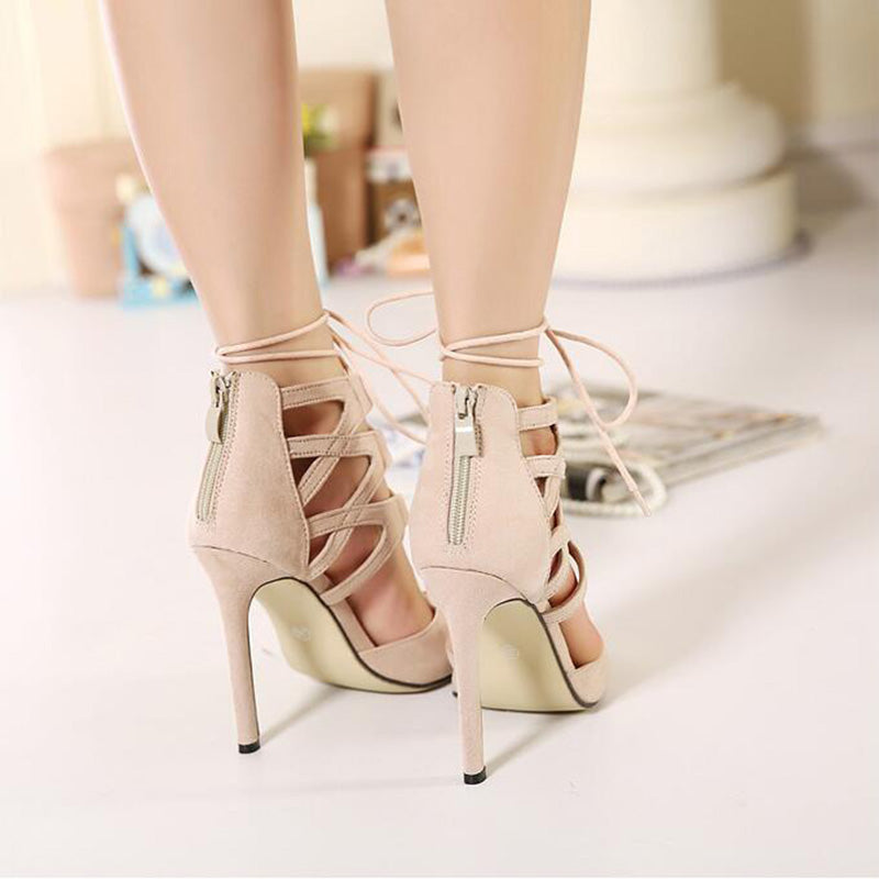 Lace Up Pointed High Heel Shoes