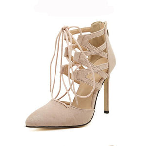 Lace Up Pointed High Heel Shoes Beige / 5