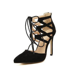 Lace Up Pointed High Heel Shoes Black / 5
