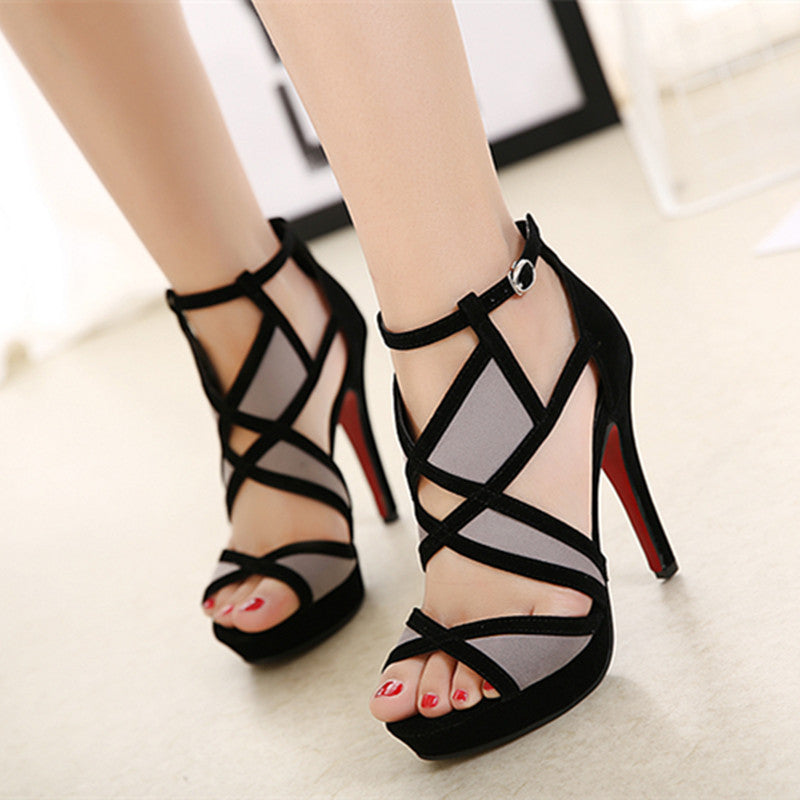Roman Gladiator Sandals Platform High Heel Shoes