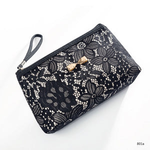 Lace Design Cosmetic Bags Black