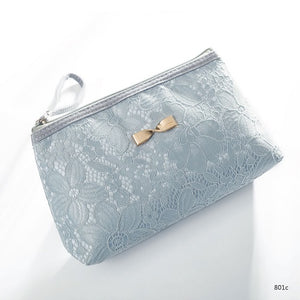 Lace Design Cosmetic Bags Blue
