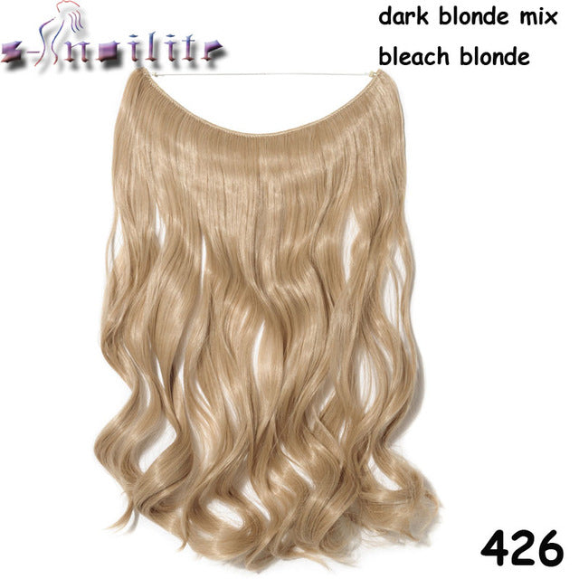 20 inches Invisible Wire No Clips Fish Line Hairpieces Silky Straight #6 / 20inches