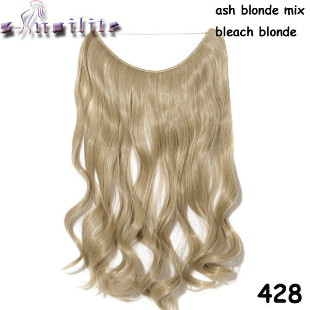 20 inches Invisible Wire No Clips Fish Line Hairpieces Silky Straight #8 / 20inches