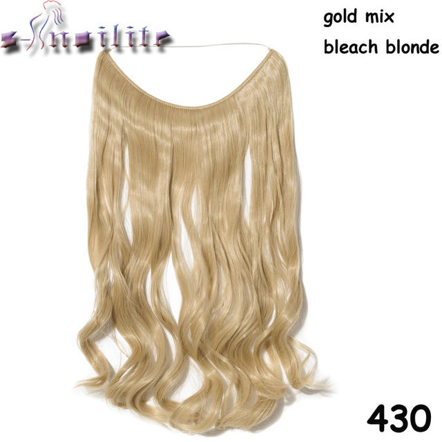 20 inches Invisible Wire No Clips Fish Line Hairpieces Silky Straight #10 / 20inches