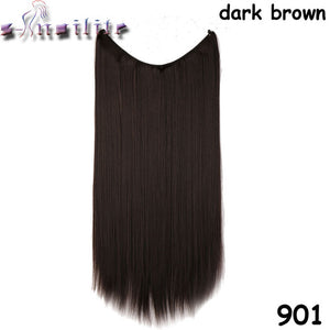 20 inches Invisible Wire No Clips Fish Line Hairpieces Silky Straight #17 / 20inches
