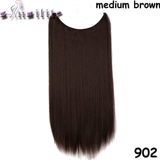 20 inches Invisible Wire No Clips Fish Line Hairpieces Silky Straight #18 / 20inches