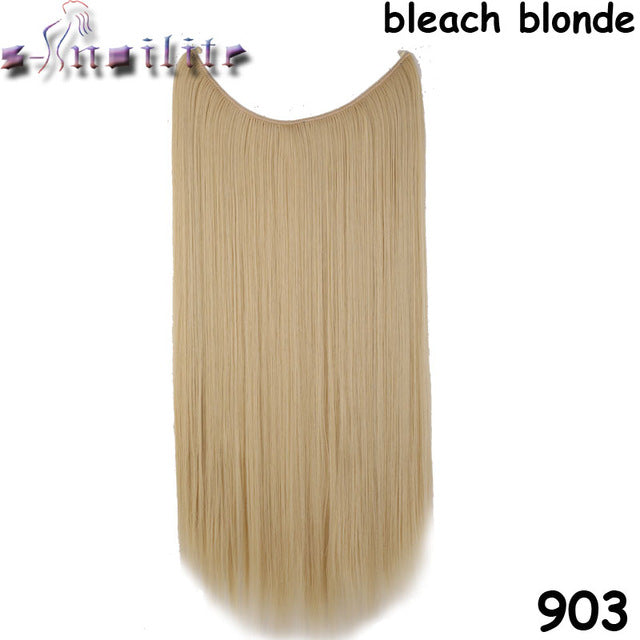 20 inches Invisible Wire No Clips Fish Line Hairpieces Silky Straight #22 / 20inches