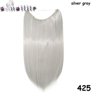 20 inches Invisible Wire No Clips Fish Line Hairpieces Silky Straight #26 / 20inches