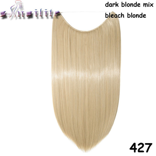 20 inches Invisible Wire No Clips Fish Line Hairpieces Silky Straight #27 / 20inches