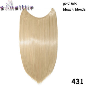20 inches Invisible Wire No Clips Fish Line Hairpieces Silky Straight #30 / 20inches