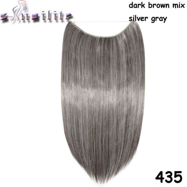 20 inches Invisible Wire No Clips Fish Line Hairpieces Silky Straight #33 / 20inches